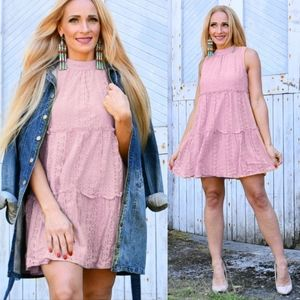 Sweet as Ever Pink BabyDoll Lace Dress